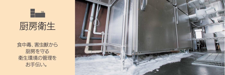 厨房衛生 食中毒、害虫獣から厨房を守る衛生環境の管理をお手伝い。